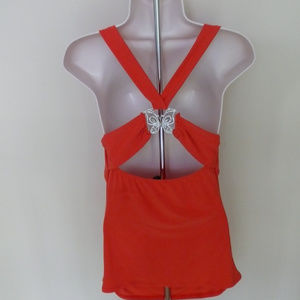LIPSTICK criss cross butterfly halter top Medium